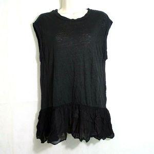 Allsaints Linen Top T-shirt Women Size M Black